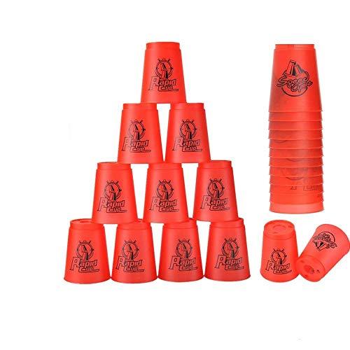Stacks Cups 12 piezas, copas de apilamiento deportivas para entrenamiento, juego de velocidad, desafío, competición, fiesta (rojo)