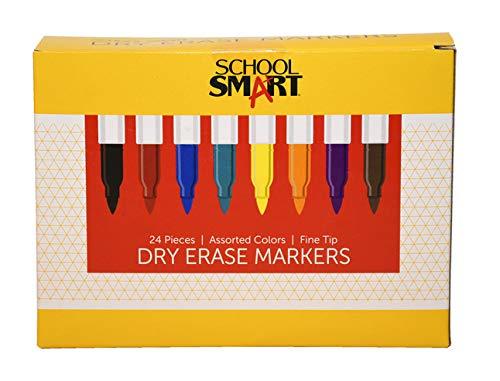 School Smart Dry Erase Pen Style Marker, Fine Tip, Assorted Colors, Set of 24