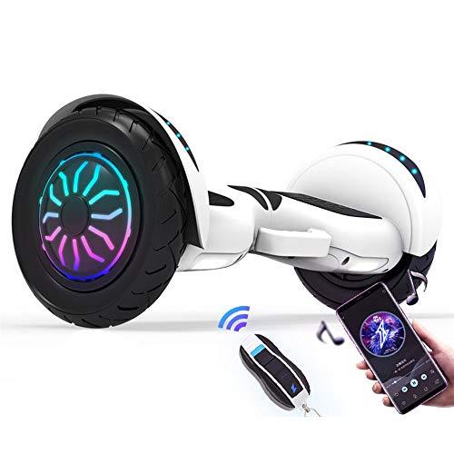 Newut 10 Pulgadas Scooter eléctrico de Dos Ruedas con Altavoz inalámbrico Incorporado Función Bluetooth Inteligente, marquesina y Control Remoto para Adolescentes Regalo,Blanco