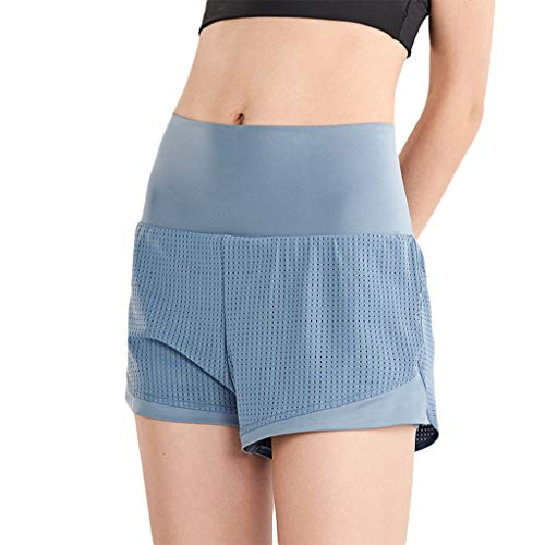 YOYOHO Damen 2-in-1 Shorts mit Liner Double Layer Sporthose - L # Blue