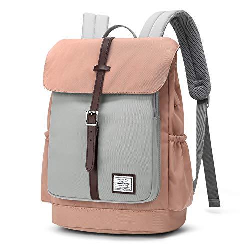 WindTook Rucksack Damen Daypack Schulrucksack mit USB Anschluss für 15 Zoll Laptop, Uni Büro Freizeit Arbeit Schule, 28 x16 x 37 cm, Rosa