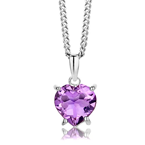 ByJoy Necklace for Women Sterling Silver heart pendant Amethyst 45 cm chain 925 Silver