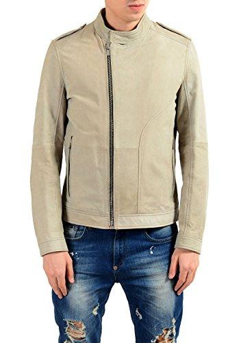 "Hugo Boss ""Landerson 100% Leather Gray Men's Basic Jacket Sz US XL IT 54"