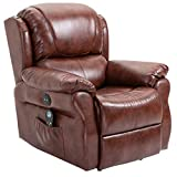 HOMCOM Power Massage Recliner Chair with Heat and Remote Control, 8 Massaging Points, PU Leather - Brown