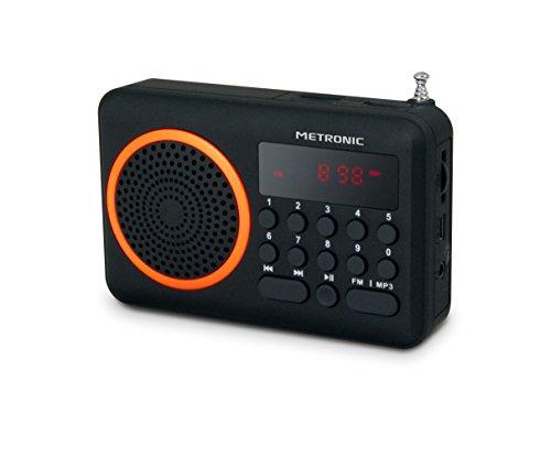 Metronic 477204 Radio portátil FM compacto con puerto USB + lector tarjeta Micro SD, negro/naranja
