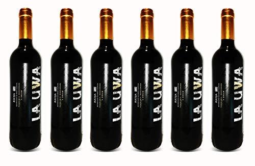 LAUWA Vino Tinto 2018 con Crianza de 6 meses en Roble Francés, D.O.Ca. Rioja, Tempranillo, 6 Botellas de 750ml