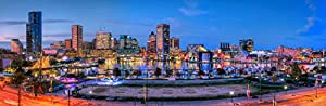Baltimore Inner Harbor Skyline 2019 Photo Print UNFRAMED Three Styles 11.75 inches x 36 inches Photographic Panorama Poster Picture Standard Size