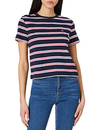 Tommy Jeans TJW Regular Contrast Baby tee Camiseta, Azul Marino (Twilight Navy), L para Mujer