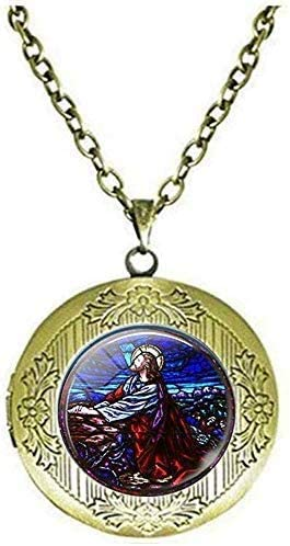 Jesus Christ Praying Stained Art Picture Locket Necklace Art Picture Jewelry
