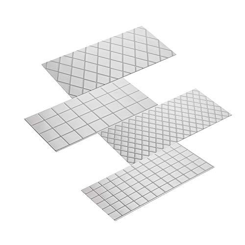 Set di 4 tappetini per impressione fondente – 2 pezzi quadrati e 2 pezzi diamantati per decorazione torte, tappetino trasparente trapuntato per stampe, stampo per biscotti, cioccolatini, goffratura