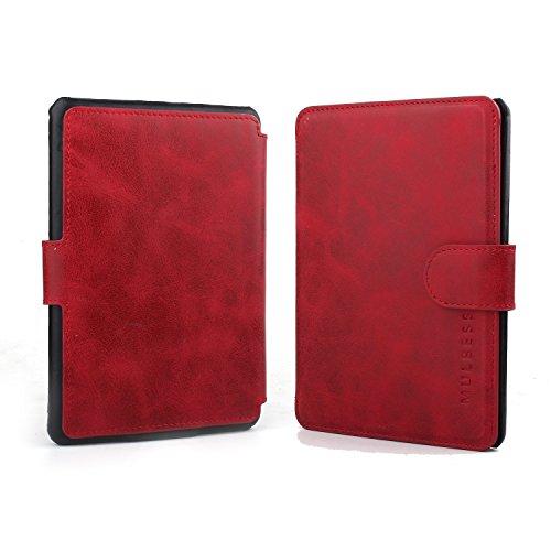 Mulbess Flip Layered Dandy Handyhülle für Kindle Paperwhite Hülle Leder, Kindle Paperwhite Schutzhülle, Kindle Paperwhite Klapphülle, Handytasche für Kindle Paperwhite Tasche, Wein Rot