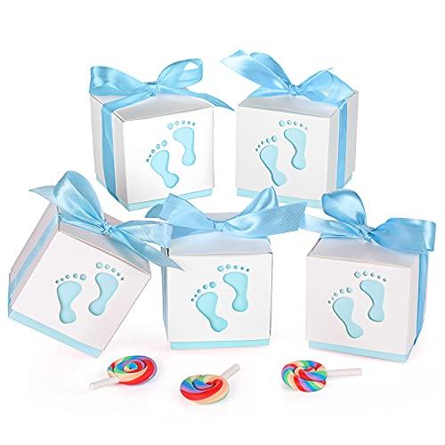 50 Piezas Cajas Regalo Papel, XiYee Caja para Caramelos Regalo, 6 * 6 * 6cm Cajas de Papel Bautizo Caramelos, Regalos Detalles de Fiesta para Baby Shower Cumpleaños Bautizo Niños Recién Nacida (C)