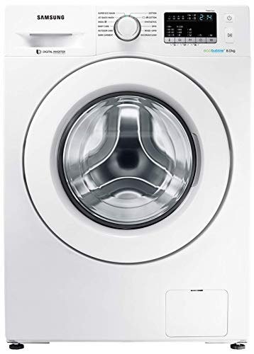 Samsung 8 kg Inverter Fully-Automatic Front Loading Washing Machine (WW80J4243MW/TL, White, Inbuilt Heater, Eco Bubble)