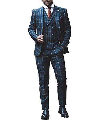 Zeattall Men's 3-Pieces Suit Slim Fit One Button Dress Suit Blazer Jacket Pants Tux Vest(40 Regular,Light Blue)