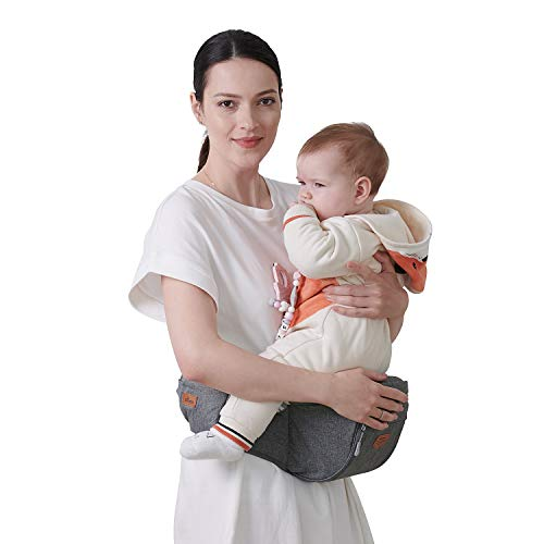 SUNVENO Baby Hipseat Carrier, Ergonomic Hip Seat for Mom Lightweight Certified Fabrics Soft Carrier for Newborns, Toddlers, Children, 6-48 lbs, Grey