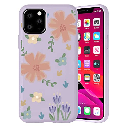 Pnakqil Cover Apple iPhone SE 2020/8 / 7, Custodia Morbida TPU Silicone con Cartoon Disegni Pattern, Ultra Slim Antiurto Bumper Case Protettiva per iPhone SE 2020, Tulipani