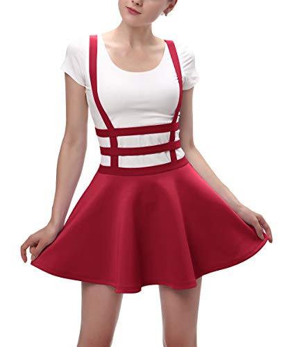 Urban CoCo Womens Elastic Waist Pleated Short Braces Skirt (Medium, Red)