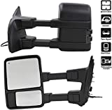 MOTOOS Pair Towing Morrors Left Driver & Right Passenger Tow Mirror Power Side Mirror WithHeated Smoke Turn Signal Light Replacement for 1999-2007 F250-F550 Super Duty Pickup Truck