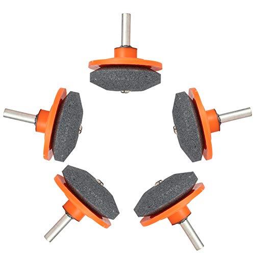 Popuppe 5 Stück Rasenmäher Messerschärfer für Bohrmaschinen, Multifunktionaler Rasenmäher Schärfen SchäRfwerkzeug MesserschäRfer für Bohrmaschinen Handbohrmaschine(Orange)