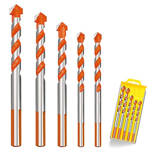 5PCS Tile Drill Bits, Assorted Size (6 6 8 10 12mm) Tungsten Carbide Tip Drill Bits Set Masonry Drill Bits kit for Concrete, Brick Wall, Plastic, Wood and Thin Metal