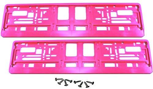 2 Stück Kennzeichenhalter - PINK - inklusive 8 Schrauben - Premiumqualität! - Satz Set