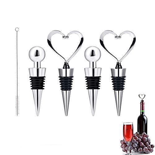 SwirlColor Weinflaschenverschluss, Weinverschluss Herz Stahlkugelform Weinretter für Geöffneten Wein 4tlg, Mit Pinsel 1tlg