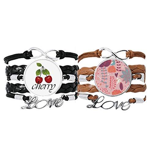 Bestchong Pulsera de hilo rojo con diseño de flores y flores y pintura para la mano, cuerda de cuero, juego doble