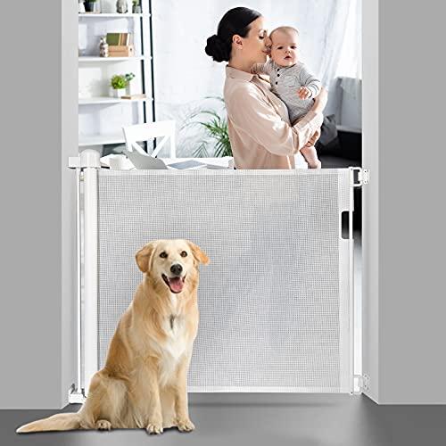 EasySMX Barrera Seguridad Nños y Perros, Puerta Seguridad Bebé Extensibles, Retráctil Vallas de para Escaleras, Barrera Escalera para Uso en Interiores y Exteriores, Blanco