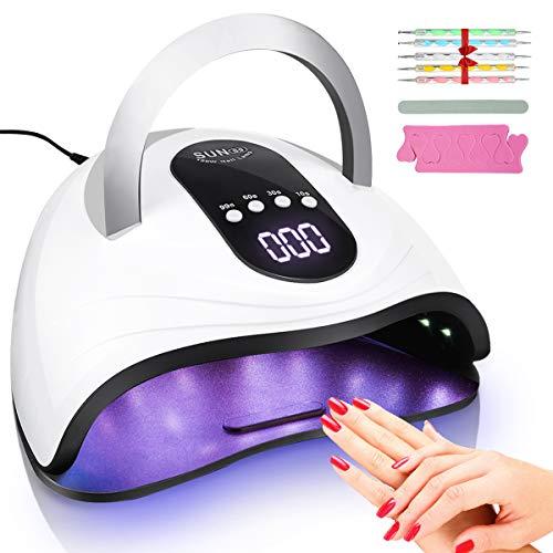 Nageltrockner, 120 W Nageltrockner LED/UV Lampe mit 4 Zeiteinstellung, Gel Nagellacke Aushärtungslampe mit Automatischer Infrarot Sensor und LCD-Bildschirm, Abnehmbarer Magnet-Platten Nageltrockner
