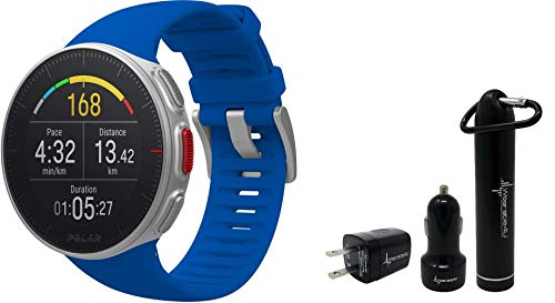 Polar Vantage V Pro Multisport GPS Watch and Wearable4U Ultimate Power Pack Bundle (Blue)