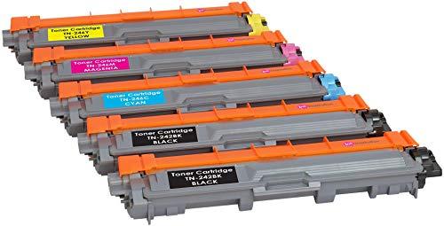 5 Tóners compatibles para Brother TN242 TN246 DCP-9015CDW DCP-9017CDW DCP-9022CDW HL-3142CW HL-3152CDW HL-3172CDW MFC-9142CDN MFC-9332CDW | Negro: 2500 páginas & Cian/Magenta/Amarillo: 2200 páginas