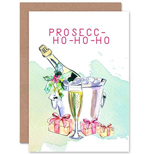 Wee Blue Coo Prosecco Ho-ho-ho - Funny Adult Alcohol Christmas Sealed Greeting Card Plus Envelope Blank Inside Lustig Alkohol Christus