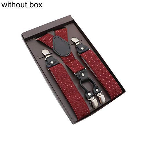 DYDONGWL Suspenders/Elegante Suspender Mannen Legering 4 Clips Riem Elastische Broekbanden Mode Commerciële Broek Braces 3,5 cm Breedte