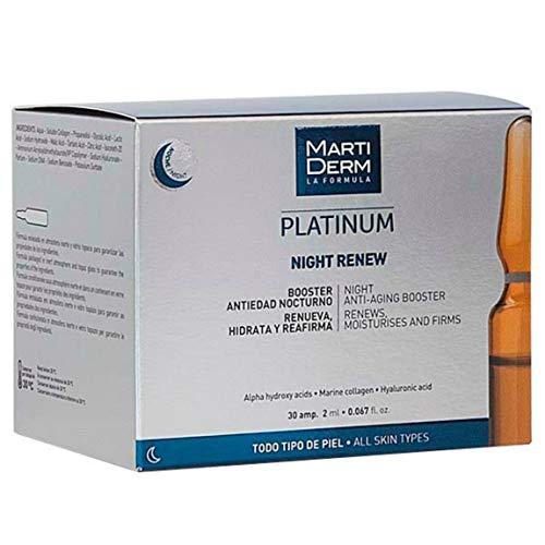 Martiderm Platinum Night Renew Ampullen | 30 Stück | Martiderm Peeling Ampullen | erneuert, spendet Feuchtigkeit und Straffung