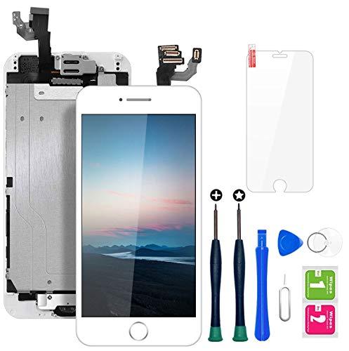 """Ecran iPhone 6 Blanc 4,7"""" LCD Vitre Tactile Complet sur Châssis avec Outils de Réparation Bouton Home Caméra Frontale Capteur de Proximité Haut-Parleur et Ecran Protecteur Tout Assemblé …"""