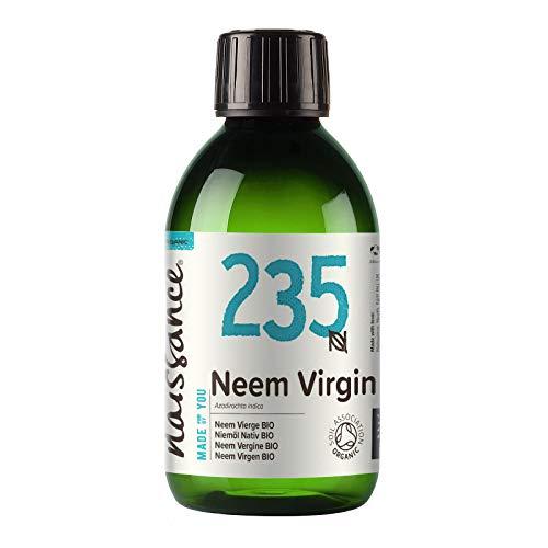 Naissance Aceite Vegetal de Neem Virgen BIO n. º 235 – 250ml - Puro, natural, certificado ecológico, prensado en frío, vegano y no OGM.