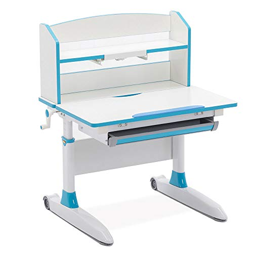 Ilogicase Kids Desk and Chair Set | Height Adjustable Children Chair and Table with Book Holder Stand and Drawer Storage | Ergonomic Desktop for Writing, Drawing and Painting | Home School (501 Blue)