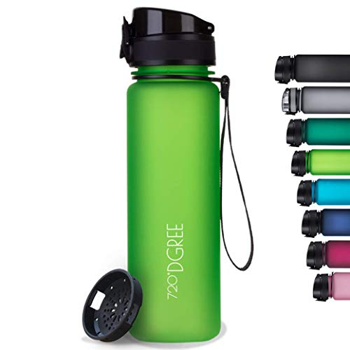 """720°DGREE Trinkflasche """"uberBottle"""" softTouch +Sieb - 500ml - Auslaufsicher, BPA-Frei - Für Kinder, Schule, Sport, Fitness - Schlanke Wasserflasche aus Tritan - Leicht, Nachhaltig, Bruchsicher"""