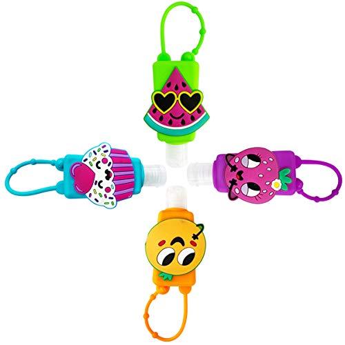 DiaryTown 4 Pack Leeren Reiseflaschen Set, 30ml Füllbar Leeren Silikon Flaschen Behälter Kleine Reiseflasche für Kinder, Früchte