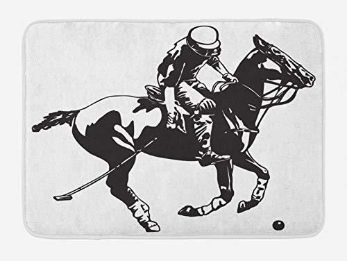 ABAKUHAUS Tier Badematte, Polo-Spieler auf einem Pferd, Plüsch Badezimmer Dekor Matte mit Rutschfester Rückseite, 45 cm x 75 cm, Charcoal Grau und Weiß