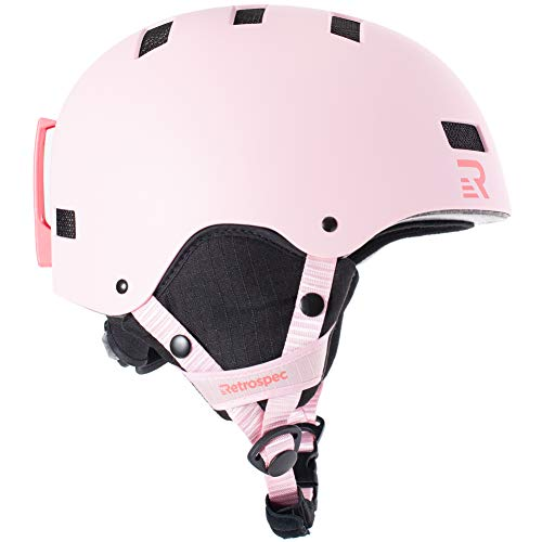 Retrospec Traverse H1 Ski & Snowboard Helmet, Convertible to Bike/Skate, Matte Pink, Small (51-55cm)