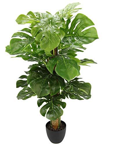 Flair Flower Kunst Splitphilopflanze im Topf Monstera Seidenblumen Real Touch grün Kunstpflanzen künstliche Splitphilo Pflanze Dekopflanze Zimmerpflanze 90 cm