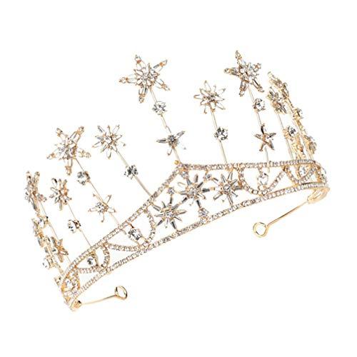 Lurrose Corona de Novia Estrella de Cristal Corona Princesa Tiara Corona Mujeres...