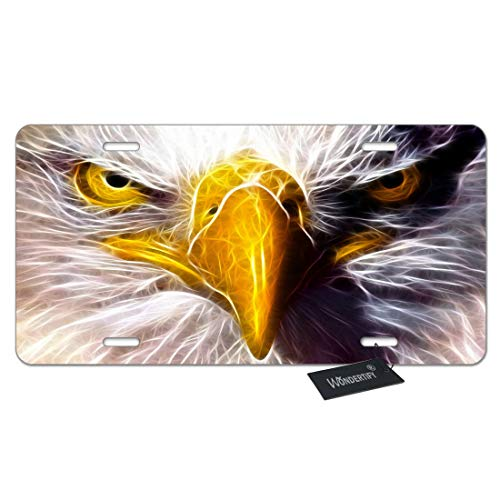 WONDERTIFY License Plate American Bald Eagle Face Eyes White Gold Decorative Car Front License Plate,Vanity Tag,Metal Car Plate,Aluminum Novelty License Plate for Men/Women/Boy/Girls Car,6 X 12 Inch