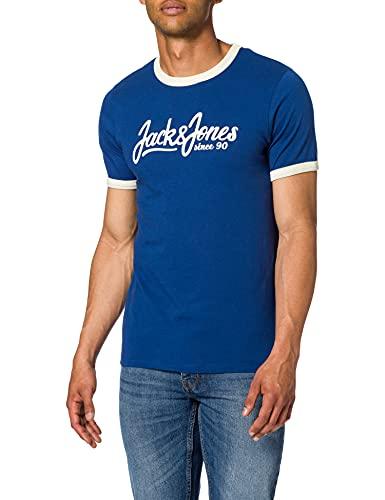 Jack & Jones JORLEVON Tee SS Crew Neck T-Shirt, Bleu Marine/Coupe : Slim, M Homme