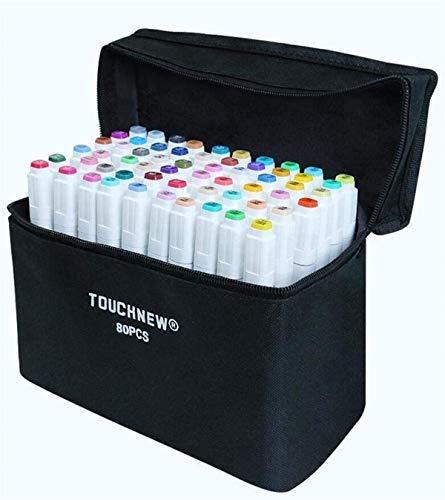 Marbeine-Estuche con 80 rotuladores Touchfive de doble punta de 5ª generación para ilustración, de Touchnew, color blanco