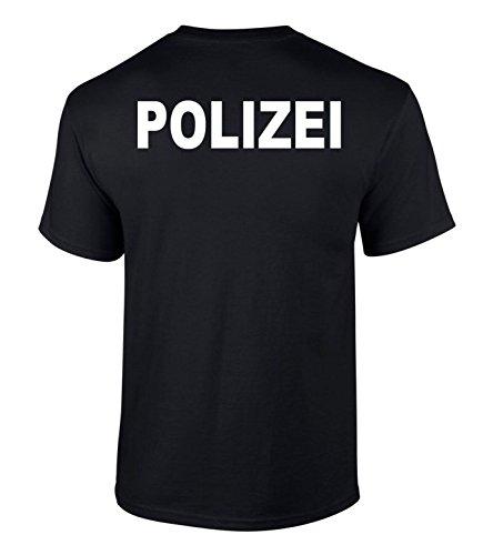 T-Shirt Polizei Druck beidseitiger Druck Schwarz XL