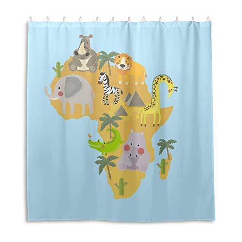 Duschvorhang, Zeichenstil-Set von Wildlife Habitats Duschvorhang, wasserdichter Stoff, Badezimmer-Duschvorhang-Set mit 12 Haken, 168 x 183 cm