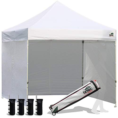 Eurmax 8x8 Feet Ez Pop up Canopy Tent, Pop-up Instant Tent, Outdoor Canopies Commercial Gazebo with Sidewalls and Roller Bag, Bonus 4 SandBags (White)