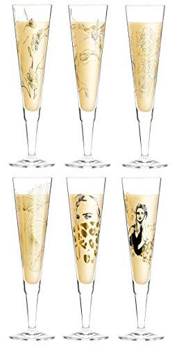 Dekomiro Ritzenhoff Champus Spring 2020 - Juego de copas de champán (6 unidades, con paño limpiador)